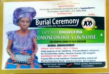 Emesakoru Enifome, Development Expert Set to Bury Mother-Inlaw, Mama Omoseowhofa in Delta