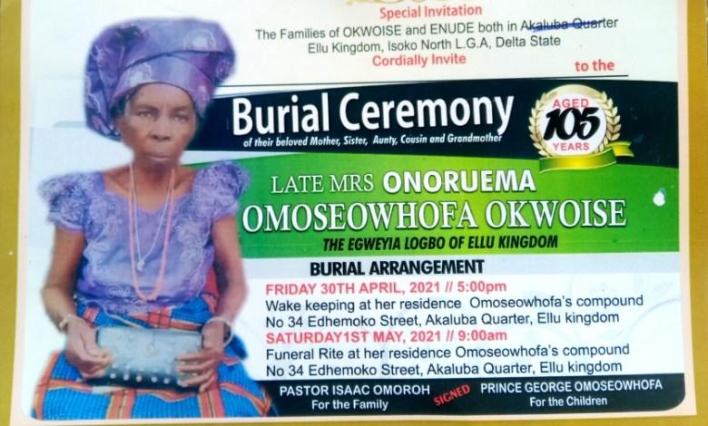 Emesakoru Enifome, Development Expert Set to Bury Mother-Inlaw, Mama Omoseowhofa in Delta
