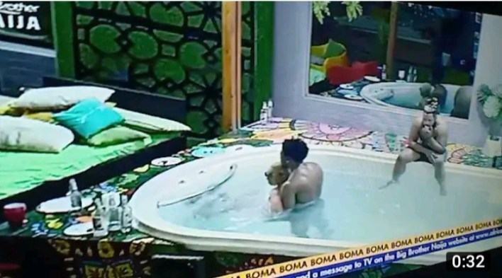 Queen Opens Legs for Boma in BBNaija Jacuzzi Friday Party