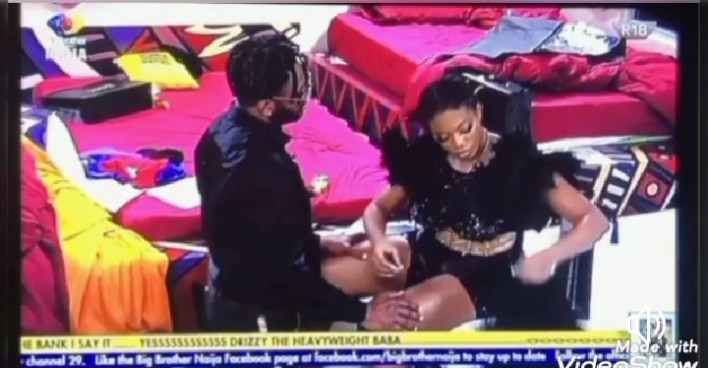 BBNaija Cross Begs Angel on His Knees As Eviction Approaches