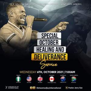 Today Jerry Eze NSPPD 7 October 2021 - Special Healing Service