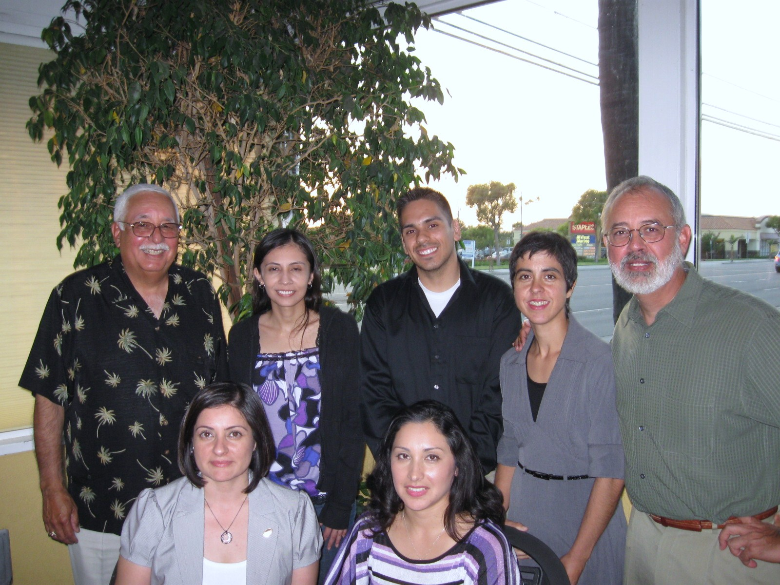 First Row from Left: Monica Lopez (OC REFORMA President), Patty Lopez (Scholarship Chair), 2nd Row from left: John Ayala, Margaret Puentes, Edward Luna, Erica Dietz, & Richard Serrato.  Not pictured:  Zulma Zepeda and Alma Magana