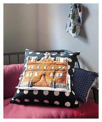 Cushion by Belfast Textile Artist FlaxFox