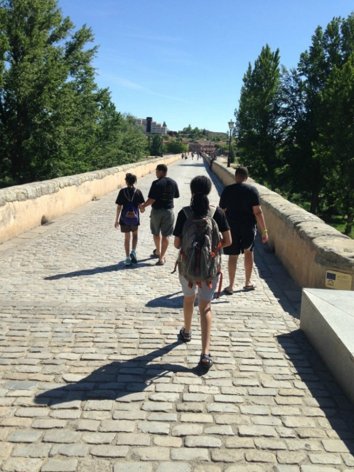 My family walking across the Puente Romano..a 2000 year old bridge