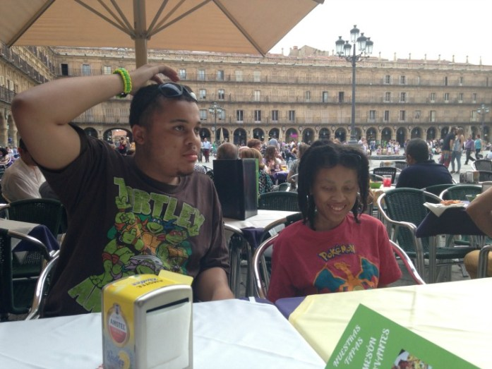 Taking in a meal on the Plaza Mayor!