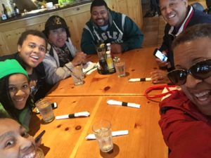 A family lunch together at the Twisted Fish in Juneau!