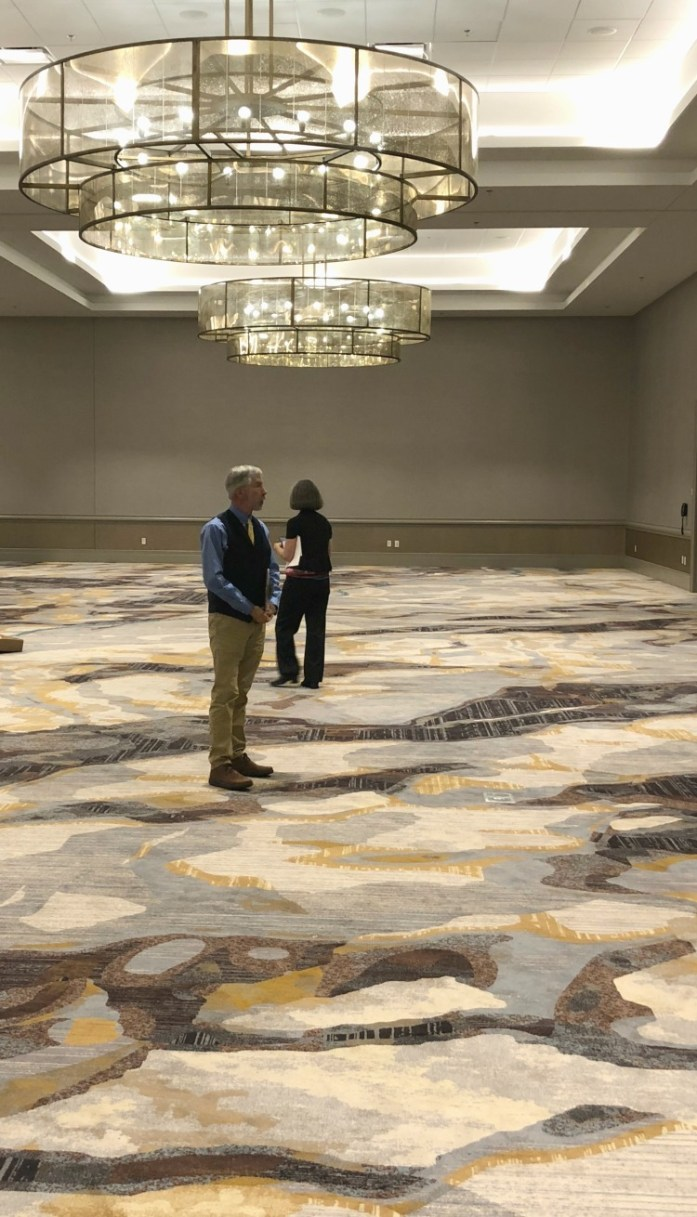 The custom-made carpet in the Shenandoah Grand Ballroom pays homage to the beautiful natural surroundings found in the Valley.