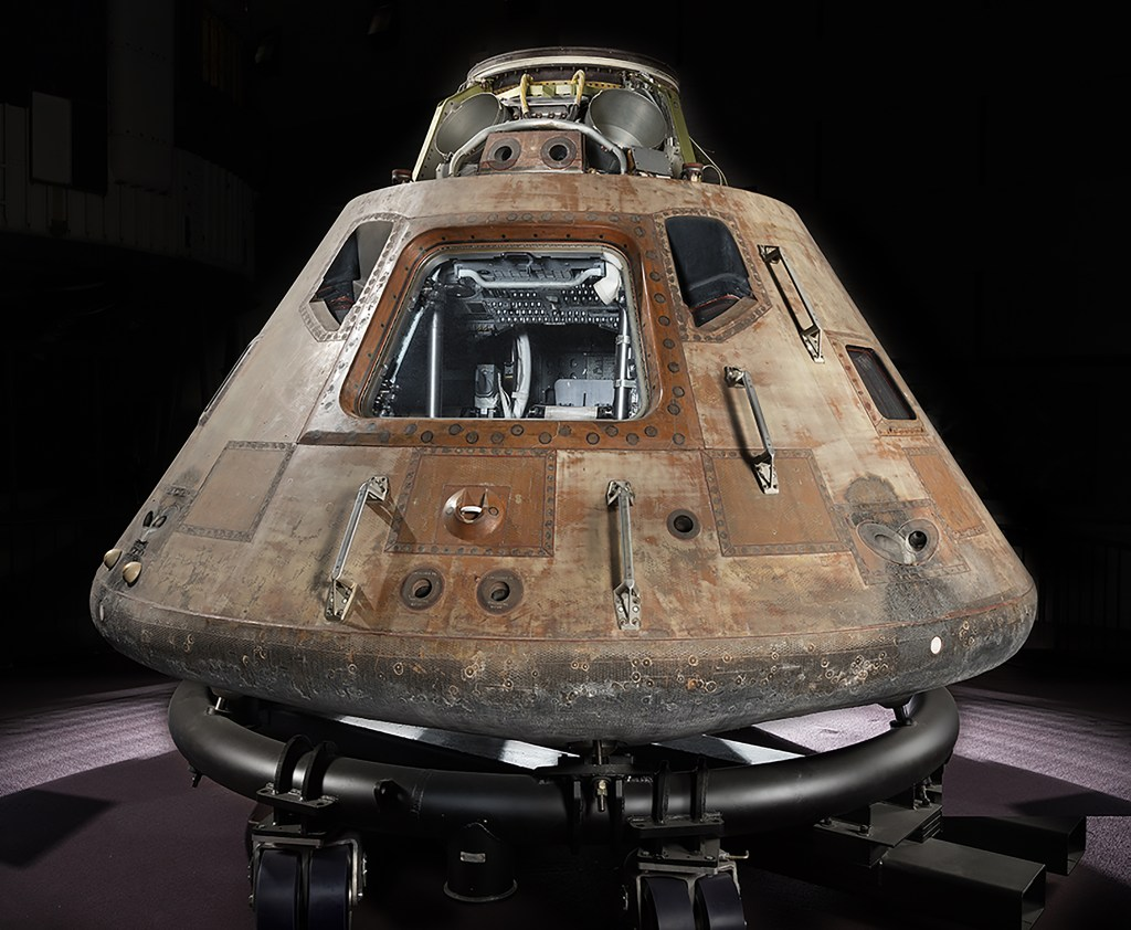 Apollo 11 command module Columbia on temporary cradle. Photo by Eric Long, National Air and Space Museum, Smithsonian Institution
