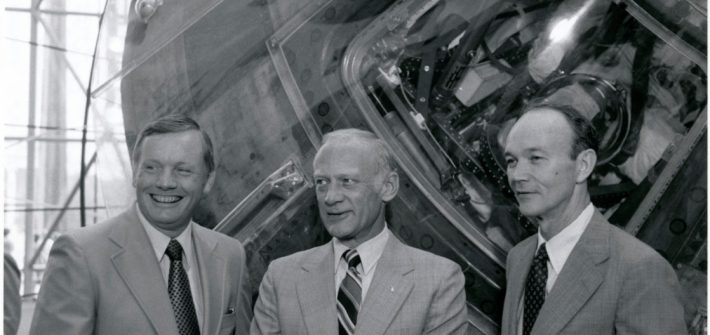 Apollo 11 astronauts Neil Armstrong, Buzz Aldrin and Michael Collins pose in front of the Columbia at the National Air and Space Museum in 1979. Photo credit: National Air and Space Museum/Smithsonian Institution