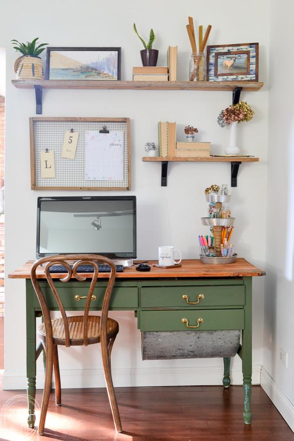 Vintage Modern Boho Home Office With Open Shelves Natural Wood Green Desk 7 Refresh Living