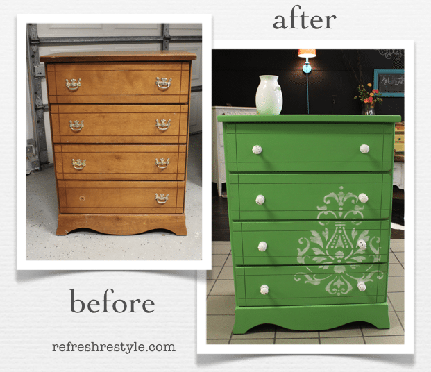 before and after green with stencil