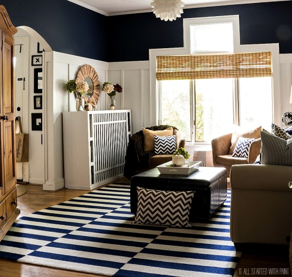 Navy and Brown fall in the living room