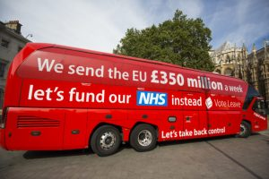 EU 350m red bus NHS