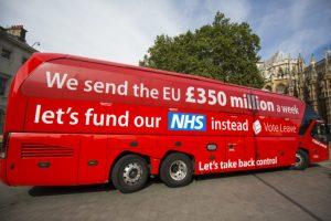 EU 350m red bus NHS
