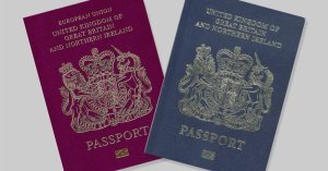 UK passports blue and burgundy