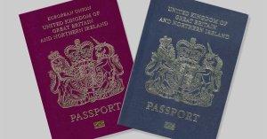 UK passports blue and burgundy