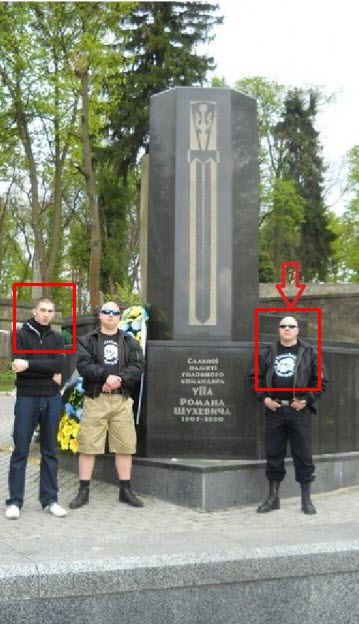 "Left to right: Ivan Koltsov, an unknown person, and Alexei ""Mukha"" Maximov in Lviv, where they arrived to participate in a march honouring SS Galizien division. April 2011."