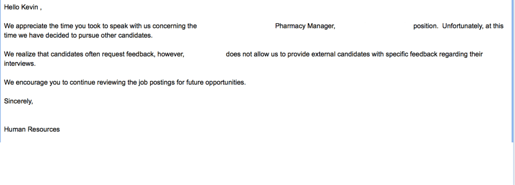 Rejection letter from Pharmacy RH