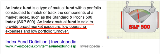 Investopedia index fund definition