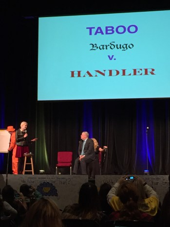 Daniel Handler on Leigh Bardugo's lap w/Veronica Roth