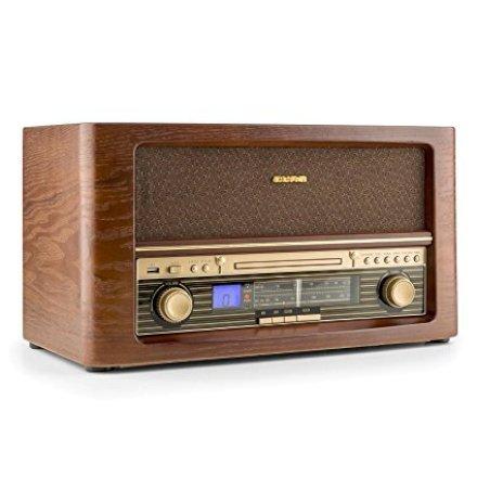 Casa & Ufficio Gadget  aunaBelleEpoque1906impiantoStereoRadioRetròVintageLettoreCDMP3TunerFMPortaUSBMP3ConDigitalizzazioneCDoFontiAUXtelecomandoColorLegno-Regalo Impianto Stereo Radio Retrò Vintage