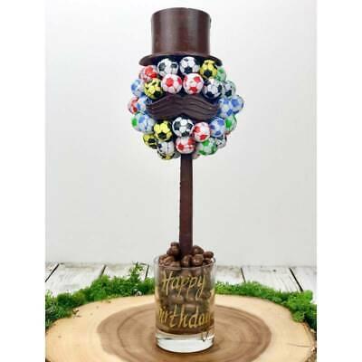 Personalised Choc Footballs Hat and Tash Chocolate Tree Birthday Thank U Easter