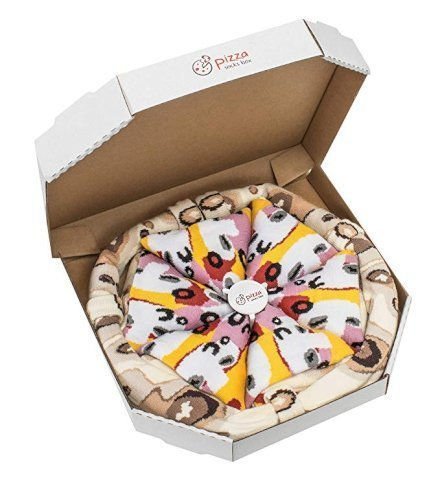 Gadget Regali per Donna Regali per Ragazzi Regali per uomo  PIZZASOCKSBOX-Capricciosa-4paiadiCALZINIDivertent-Regalo Pizza Socks Box! (4 paia di calzini divertenti)