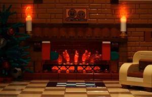 caminetto di natale Lego