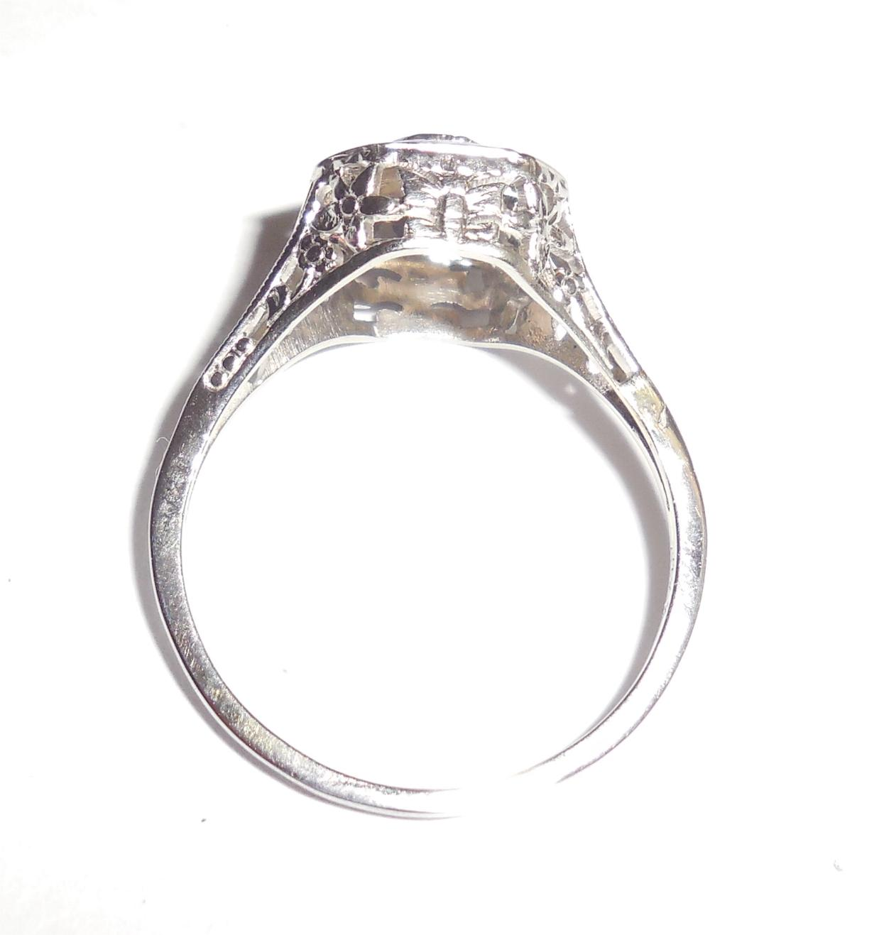 Antique Edwardian Art Deco 18k Gold Diamond Filigree Insects Ring