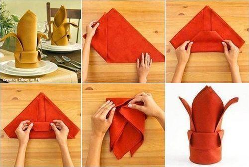 como doblar servilletas de forma decorativa 1