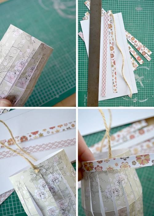 Manualidades con papel guirnalda de farolillos DIY 6