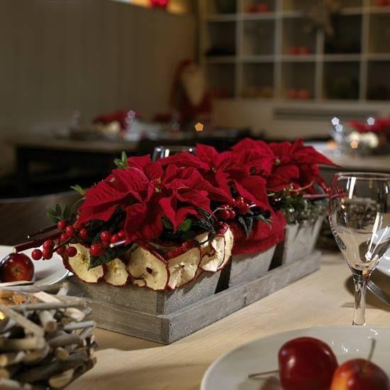 Cómo hacer un arreglo de mesa de Navidad con flor de Pascua  1