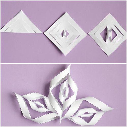 manualidades de Navidad copos de papel para decorar fiestas 5