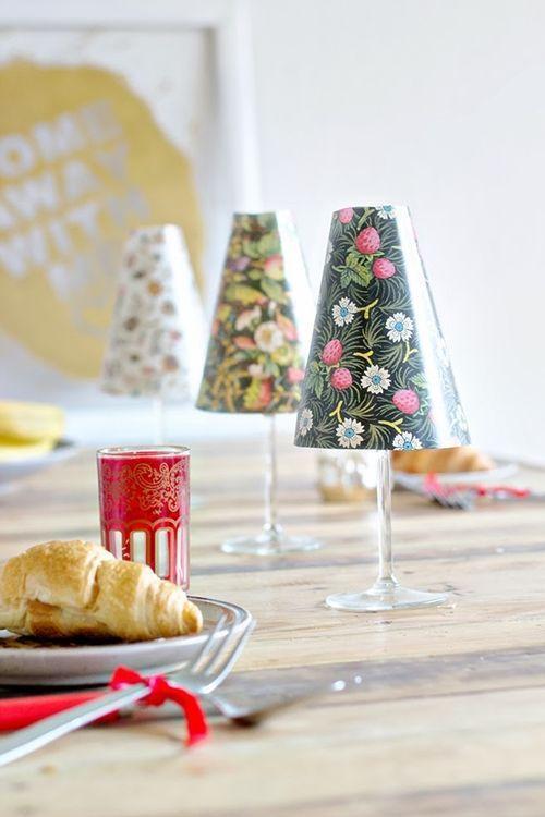 Hacer peque as l mparas de mesa con copas y pantallas de papel regalo y fiesta - Pantallas de lamparas de mesa ...