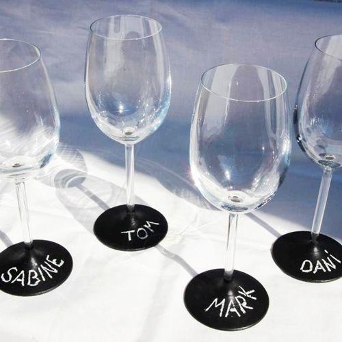 Copas de vino personalizadas con pintura de pizarra 7