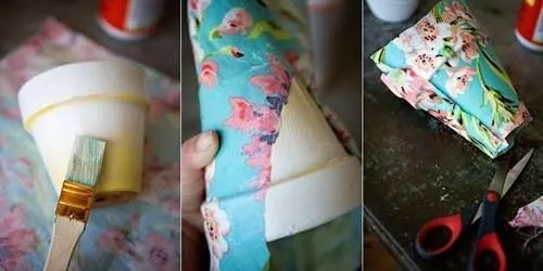 Decorar macetas con telas alegres para un regalo original 2