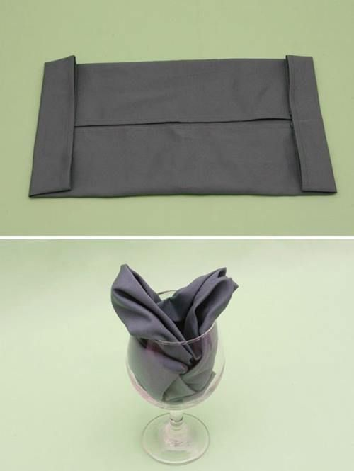 Cómo doblar servilletas para ocasiones especiales formado rosas de tela 4