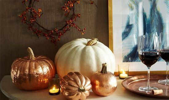 Manualidades Halloween decorar calabazas con efecto metalizado 1