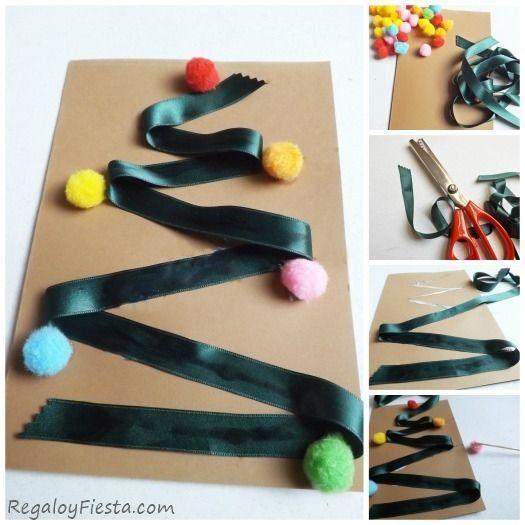 Tarjetas de Navidad originales hechas a mano con materiales sencillos que tienes en casa.