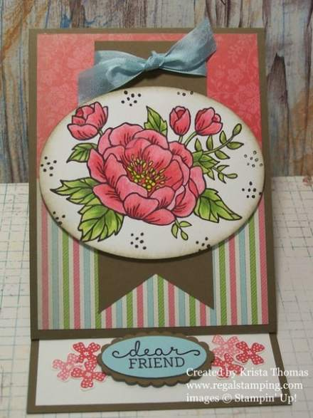 Easel Technique with Birthday Blooms, by Krista Thomas, www.regalstamping.com, Check out this quick tutorial on how to make your own easel card!