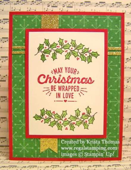 GDP#054, Holly Berry Happiness, Wrapped in Warmth, Stampin' Up Holiday 2016-17 Catalog, by Krista Thomas, www.regalstamping.com