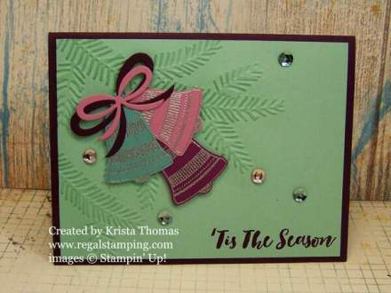 Seasonal Bells on Mint Macaron, by Krista Thomas, www.regalstamping.com
