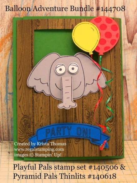Playful Pals Party Elephant with Balloon Adventures, Stampin' Up! and Pyramid Pals Framelits