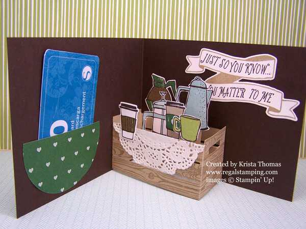 3D Wood crate inside coffee card