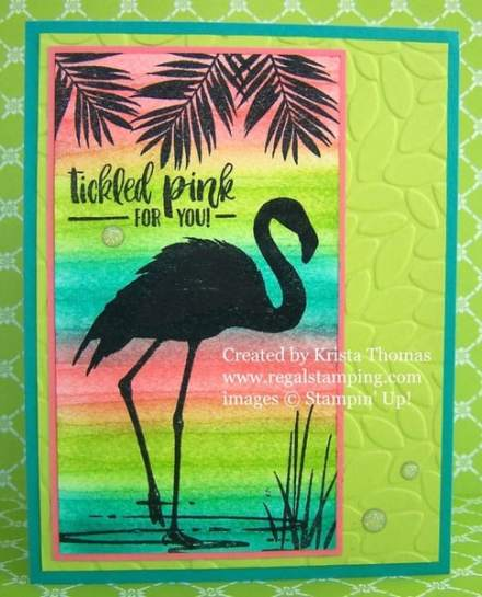 Watercolor Striping with Fabulous Flamingo
