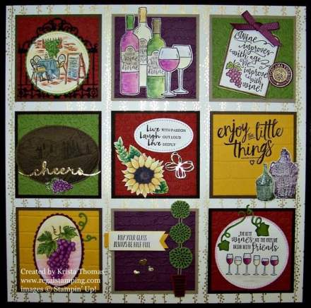 12 x 12 Framed Art Wine Theme, Stampin' Up!, Tuscan grapes topiary