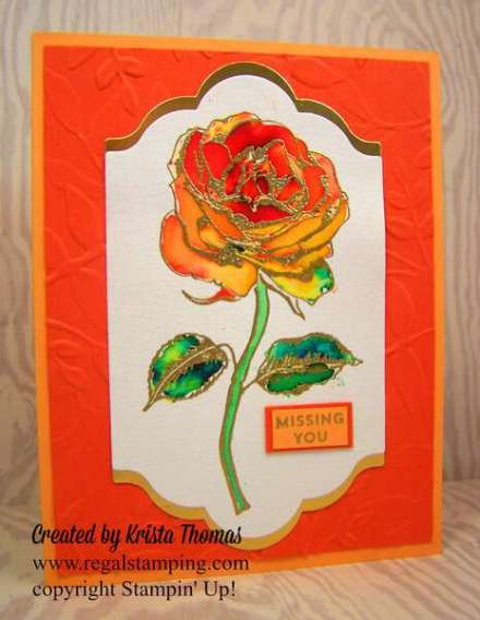 Brusho Elegant Rose by Krista Thomas, www.regalstamping.com