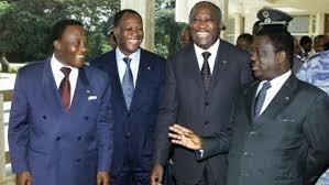 (De droite vers la gauche) Henri Konan Bédié, Laurent Gbagbo, Alassane Dramane Ouattara et Robert Guei