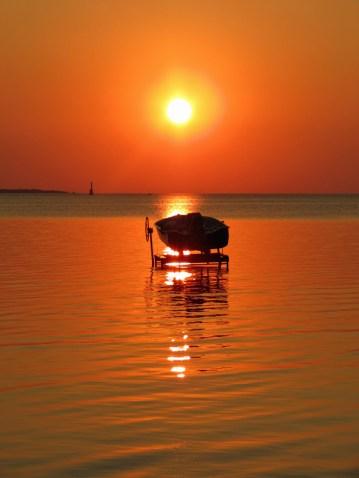 Motorboat at Sunset