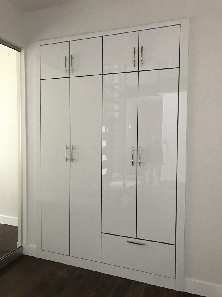 high gloss shiny white closet